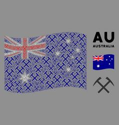waving australia flag mosaic mining hammers vector image
