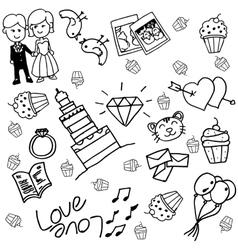 Wedding doodle vector