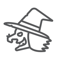 Witch line icon magic and halloween wizard vector