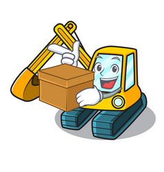 With box excavator character cartoon style vector