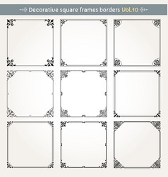 decorative square frames and borders set 10 vector image vector image