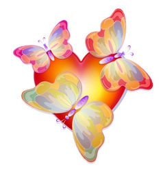 heart with butterflies vector image vector image