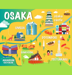 Osaka map with colorful landmarks japan design vector