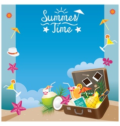 Suitcase with Summer Objects on the Beach Frame vector image vector image