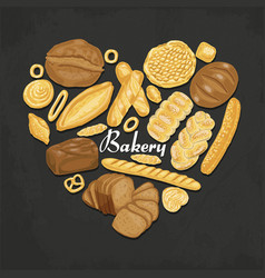 the isolated heart of colored bakery products vector image vector image