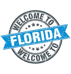 Welcome to florida blue round vintage stamp vector