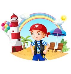 A pirate at the beach vector image vector image