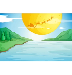 a river and a moon vector image