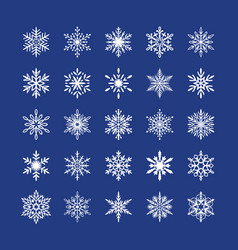 cute snowflakes collection isolated on blue vector image
