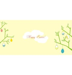 easter greeting card with branches vector image
