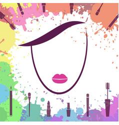 face of beautiful girl makeup artist logo vector image vector image
