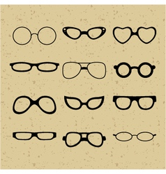 set of different glasses on the background vector image