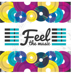 vinyl record with musical notes concept vector image