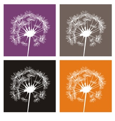 White dandelion silhouette on colorful buttons vector
