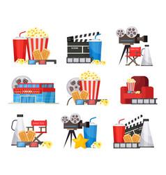 colorful cinema elements set vector image vector image