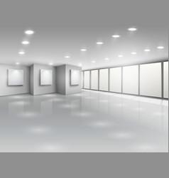 Empty gallery interior with light windows vector image