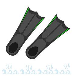 Flippers for snorkeling rest on the sea vector