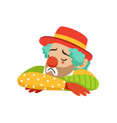 sad circus clown in traditional make up cartoon vector image vector image