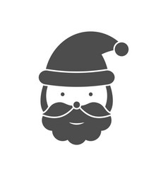 santa claus head black icon vector image