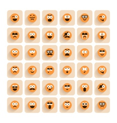 set of emotion smiling faces icons vector image vector image