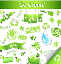 Set of simple green ecology icons and labels vector image vector image