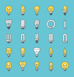Set of simple type of light bulb and fluorescent vector