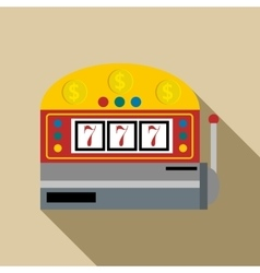 Slot machine with lucky seven icon flat style vector image vector image