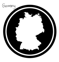 white map of germany on black circle vector image vector image