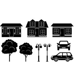 Black icons of houses trees and machines vector image vector image
