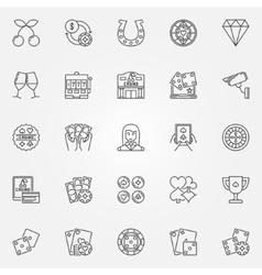 Casino line icons vector image