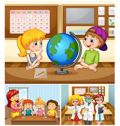 children learning in classroom with teacher vector image vector image