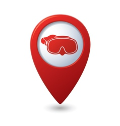 Map pointer with diving mask icon vector image vector image