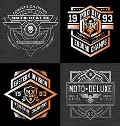 Motorcycle sports racing t-shirt graphics vector image vector image
