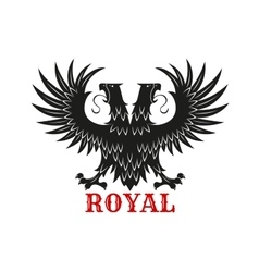 Royal double headed eagle black heraldic symbol vector image vector image