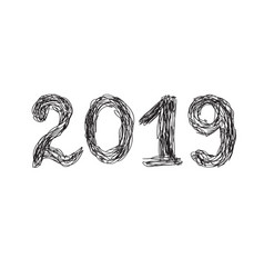 2019 hand drawn lettering for new year and vector image