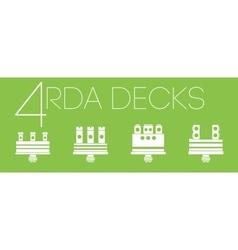 4 one color RDA decks set vector