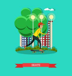 a boy riding skateboard in vector image