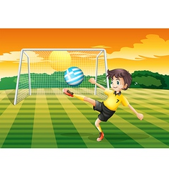 A female player kicking the ball with the flag of vector image