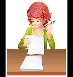 A woman taking an exam vector image