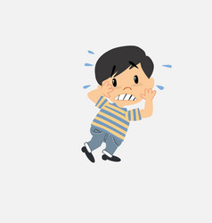 Asian boy in jeans shrugged in fear vector