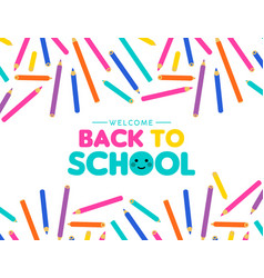 Back to school art color pencil design for kids vector