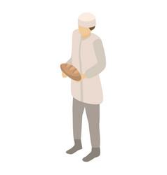 Bakery man icon isometric style vector