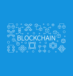 blockchain concept outline horizontal vector image