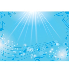 blue musical background with notes and rays vector image