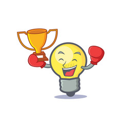 Boxing light bulb character cartoon winner vector
