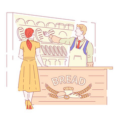 bread bakery shop pastry food wheat dough vector image
