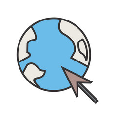 browser line filled icon vector image