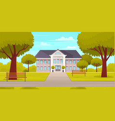 business building in green recreation park zone vector image