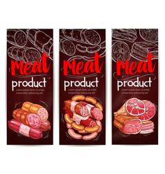 Butcher shop meat sausages banners vector