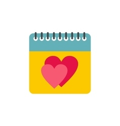 Calendar with hearts icon flat style vector
